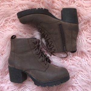 Shoes - Brown Heeled Combat Boots